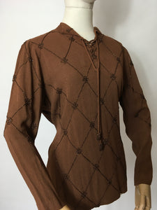 Original 1940's Double Eleven Plate Label Tunic - Featuring Stunning Bronze Beaded Bodice Detailing on an Autumnal Brown Crepe