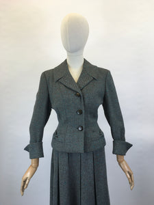 Original late 1940's 2pc Woollen Suit by ' Harella' - Grey Toned with a Bright Teal Fleck