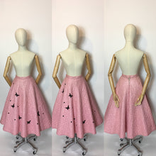Load image into Gallery viewer, Original Darling 1950's quilted full circle skirt - In a Cute pink featuring black embelished Butterflies