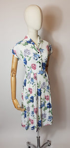 Original 1940's Darling St. Michael Day Dress - In. A Pretty Pastel Colour Palette