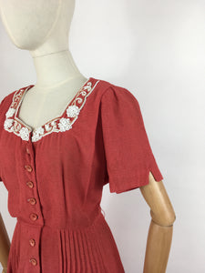 Original 1940's Dress By ' Travelcraft by Sportscraft' - In a Beautiful Deep Coral with White Floral Beadwork
