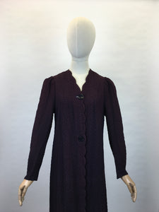 Original 1930s Summer Overcoat - In a Fabulous Textured Waffle Crepe in Faded Navy