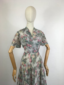 Original 1950s ' Eastex ' Floral Dress - In a Lovely Muted Colour Pallet of Soft Pinks, Muted Creams, Taupe and Greys