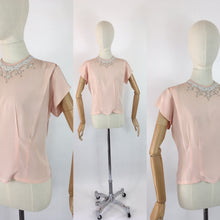 Load image into Gallery viewer, Original 1940s Soft Pink Blouse - With Beautiful Beaded Yoke Detailing