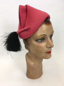 Original 1930's AMAZING Raspberry Pink Pixie Hat - With a Fabulous Ostrich Feather Plume In Black