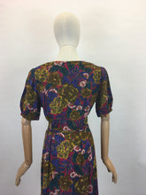 Load image into Gallery viewer, Original 1940s Beautiful Day Dress - In a Lovely Floral in Deep Reds,Mustards, Rich Purples and Stencilled Blacks