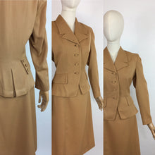 Load image into Gallery viewer, Original 1940's 2 piece suit In A Lovely Soft Caramel Garbadine - With Amazing Arrow and Button Detailing