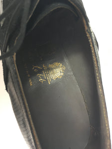 Original 1940's Black Suede & Leather Heeled Brogues - Stunning Detailing And Shape