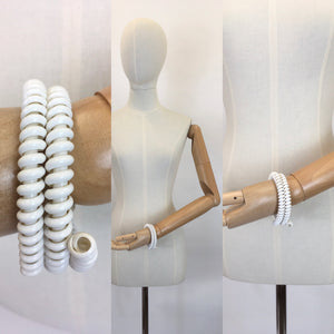 Original Late 1940's Telephone Cord Bracelet in White - A Fabulous Statement Piece