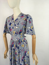Load image into Gallery viewer, Original 1940s Cornflower Blue Floral Dress - With a Beautiful 40's Silhouette