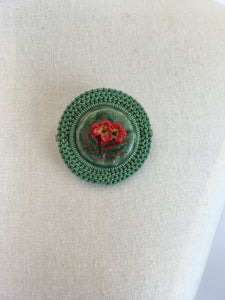 Original 1940's Make Do and Mend Telephone Wire Brooch - In A Festive Red and Green Colour Pallet