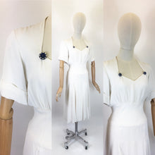 Load image into Gallery viewer, Original 1940's STUNNING White Dress With Button Detailing  - Oozing a Classic 40's Silhouette