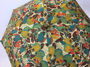 Original 1930s Sun Parasol in a Stunning Floral and Fruit Cotton - In Deco Oranges, Greens, Chartreuse and Teal
