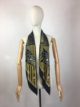 Load image into Gallery viewer, Original 1930's SENSATIONAL Silk Deco Pointed Scarf - In Black, Gold & Cream