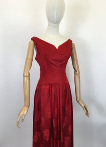 Original Late 1940's Evening Dress - In A Lipstick Red Silk Floral Brocade