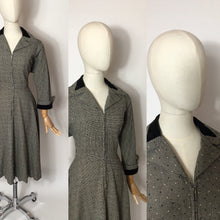 Load image into Gallery viewer, Original late 1940's early 1950s ' Peggy Page ' Dress - Stunning Velvet Trim Detailing