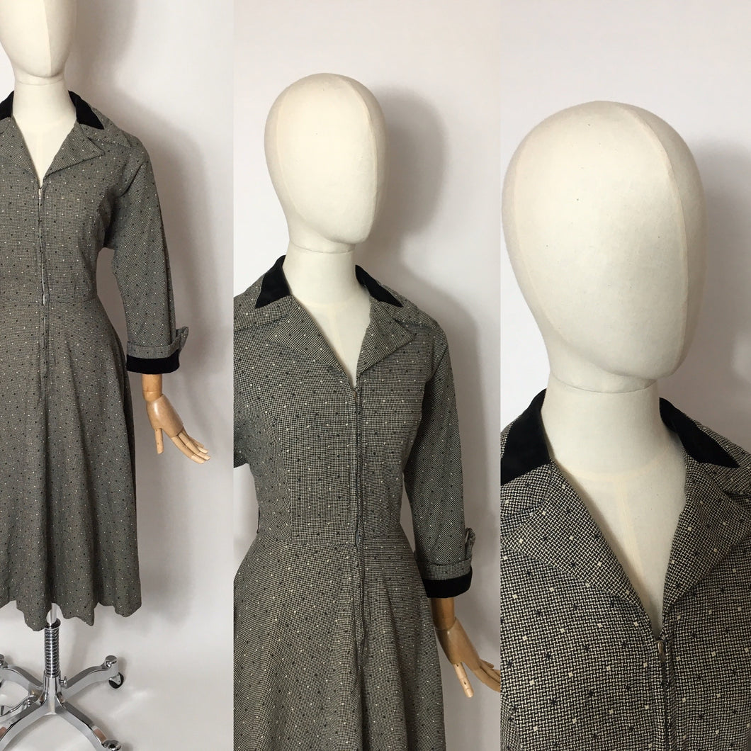 Original late 1940's early 1950s ' Peggy Page ' Dress - Stunning Velvet Trim Detailing