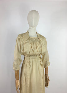 Original Early 1910's Dress - Made from The Most Beautiful Buttermilk Cream Raw Silk with Exquisite Antique Detailing