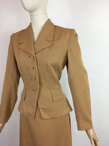 Original 1940's 2 piece suit In A Lovely Soft Caramel Garbadine - With Amazing Arrow and Button Detailing