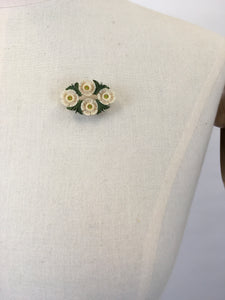 Original 1940s Celluloid Floral Brooch - In Soft White and Green