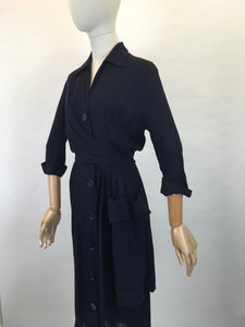 Original 1940s Stunning ' Herbert Stonheim ' Couture Dress - In a Navy Sheer Rayon with Wrap Hip Swag and Pocket