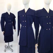 Load image into Gallery viewer, Original 1940s STUNNING Navy 2 pc Suit - With PHENOMENAL Long Line Silhouette and Cape Style Overlay