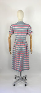 Original Early 1940s Cotton Day Dress - Lovely Stripe In Soft Greys, Bright Pinks and White