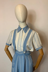 Original 1940's 2 pc Blouse & Dungaree Set - In the Most Summery Of Colour Pallets with Polka Dots