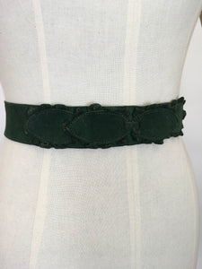 Original 1930's STUNNING Forest Green Suede Belt - With Lovely Adornments