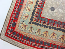 Load image into Gallery viewer, Original 1940's / 1950's Silk Hankie - In A Soft Colourway Of Beige, Red, Stencilled Black and Pale Duck egg