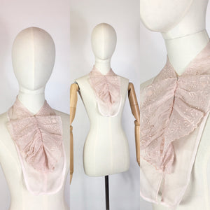 Original 1930's Broderie Anglaise Dickie - By Saks Fifth Avenue in A Powdered Pink