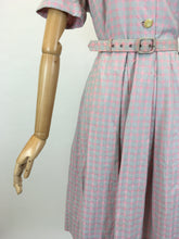Load image into Gallery viewer, Original 1950's Darling Cotton Day Dress - In A Muted Pink & Grey Check