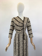 Load image into Gallery viewer, Original 1940's Stunning Crepe Dress - In a Warm Brown and Old Cream