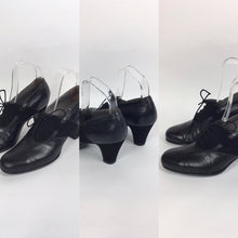 Load image into Gallery viewer, Original 1940's Black Suede & Leather Heeled Brogues - Stunning Detailing And Shape