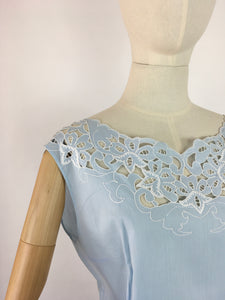 Original 1950s Darling Powder Blue Cotton Blouse - With Beautiful Cutwork Detailing