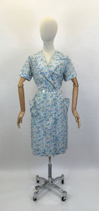 Original 1950's Floral Cotton Wrap Dress - In A Blue, Green & White Colour Pallet