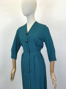 Original Early 1950's Fabulous Day Dress - In A Lovely Deep Teal Dogtooth Cotton