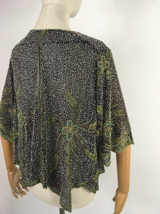 Original 1930s Exquisite Beaded Capelet - Museum Worthy In all its Beauty Fully Beaded In Black, Gold and Deco Green Beads