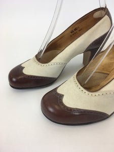 Original 1940s ' Start-rite' CC41 Utility Spectre Shoes - In Iconic Colour-way Cream & Brown