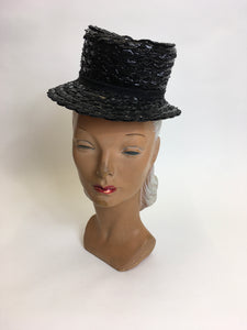 Original 1940's Black American Topper Hat - Fabulous Iconic Shape With Grosgrain Bow