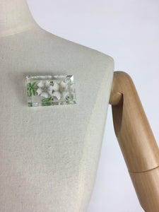 Original 1940's Rectangle Lucite Brooch - Bevelled Edge with White And Green Floral Design