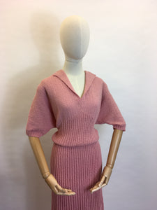 Original Late 1940's Early 1950's VOLUP Knitted Dress - Gorgeous Rose Pink