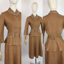 Load image into Gallery viewer, Original 1940's 2 Piece Suit - In a Beautiful Soft Caramel Linen Colour With Contrast Stripe Detailing