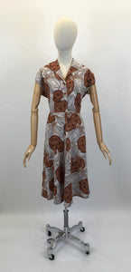 Original 1940's Cotton Day Dress - In A Lovely Muted Colour Pallet