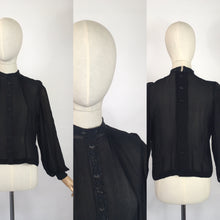 Load image into Gallery viewer, Original 1940's Darling Sheer Black Blouse - With Beautiful Contrast Lace Detailing