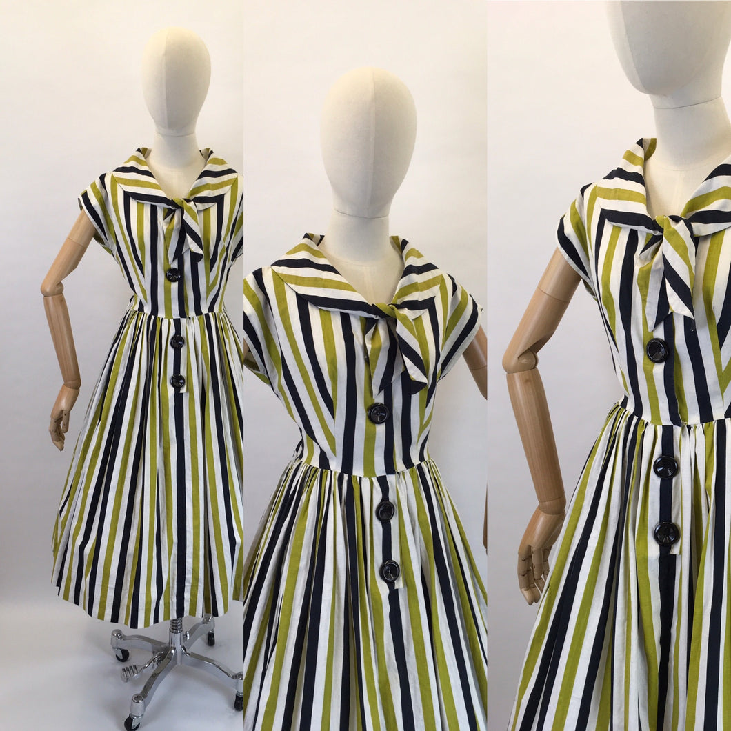 Original 1950s Fun Day Dress - Made From a Lovely Black, White and Chartreuse Stripe Cotton