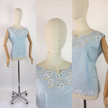 Load image into Gallery viewer, Original 1950s Darling Powder Blue Cotton Blouse - With Beautiful Cutwork Detailing