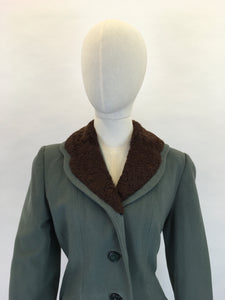 Original 1940s Duck Egg Wool Princess Coat with Fur Trim - Stunning 40's Silhouette