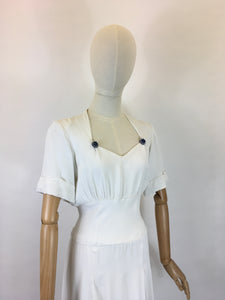Original 1940's STUNNING White Dress With Button Detailing  - Oozing a Classic 40's Silhouette