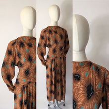 Load image into Gallery viewer, Original 1940's Stunning Rayon Dress - Featuring a classic Silhouette and Beautiful Colour Pallet